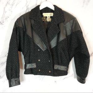 David Benjamin    Vintage 80s Wool Leather Jacket